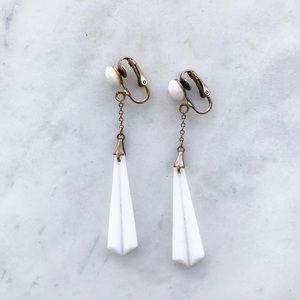 Vintage Enamel White Drop Earrings